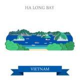 Bahía larga de la ha en señal de la atracción turística de la atracción de Vietnam ilustración del vector