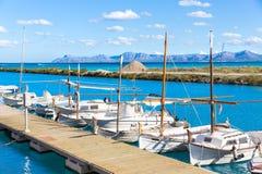 Bahía Majorca de Alcudia de la playa de Platja de Muro Esperanza Foto de archivo libre de regalías