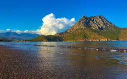Bahía mediterránea de Adrasan Kemer Lugar precioso de turistas Manera de Lycian Excursión Imagenes de archivo