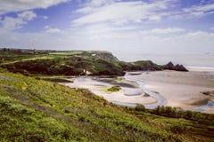 Bahía País de Gales de tres acantilados Imágenes de archivo libres de regalías