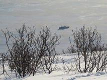 Bahía pacífica, opinión del invierno de la montaña imagen de archivo libre de regalías
