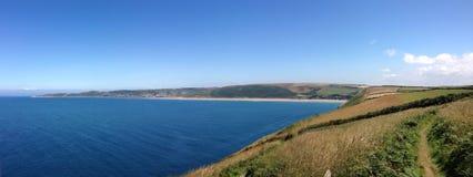 Bahía panorámica Devon del woollacombe foto de archivo