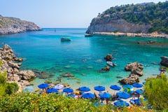 Bahía Rodas Grecia de Anthony Quinn Foto de archivo libre de regalías
