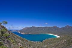 Bahía Tasmania del vidrio de vino Imagen de archivo libre de regalías