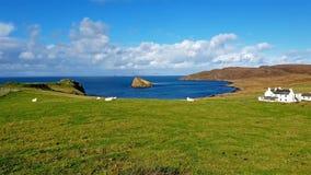 Bahía y castillo de Duntulm en la isla de Skye - Escocia almacen de video