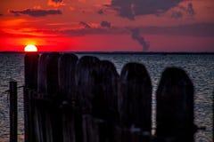 Bahía de la puesta del sol Foto de archivo libre de regalías