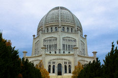 Baha'i House of Worship. Bahai house of worship near Chicago stock photo