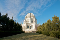 The Baha'i House of Worship in Chicago. The Baha'i House of Worship in Wilmette, Chicago. Dynamic wide angle shot. Winter 2009 Stock Photo