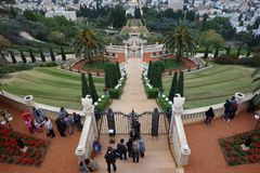 Baha`i shrine and temple in Hafia as seen through hilltop entrance Stock Images