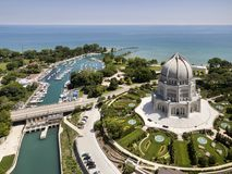 Baha`i Temple Wilmette Harbor Aerial Royalty Free Stock Photography