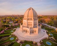 Baha& x27;i Temple in Wilmette, IL at sunrise Royalty Free Stock Photo