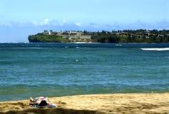 Bahía y centro turístico de Hanalei Foto de archivo libre de regalías