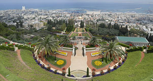 bahai从事园艺海法以色列视图 免版税图库摄影