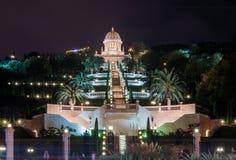 Bahai寺庙和Bahai庭院的夜视图 库存图片