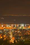 bahai寺庙在海法在night HDR之前 免版税库存照片