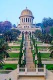 Bahai庭院和寺庙在日出,在海法 图库摄影