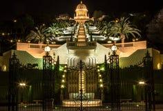 Bahai庭院夜 库存图片