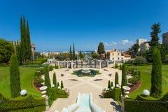 Bahai庭院的美好的图片在海法以色列 免版税库存照片