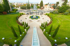 Bahai庭院的美好的图片在海法以色列 免版税库存图片