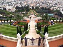 bahai海法以色列寺庙大阳台 免版税图库摄影