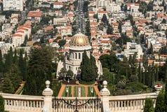 Bahai cultiva un huerto en las cuestas, Carmel Mountain, ciudad a de Haifa Foto de archivo libre de regalías