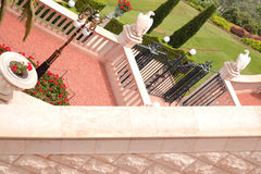 Bahai gardens. Architecture and decor in the Bahai Gardens Stock Photo