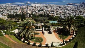 Bahai Gardens. Cascading in Israel with sea view Stock Photos