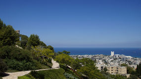 Bahai Gardens. Cascading in Israel with sea view Stock Images