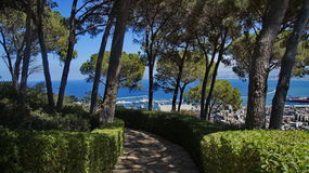Bahai Gardens. Cascading in Israel with sea view Royalty Free Stock Photography
