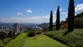 Bahai Gardens. Cascading in Israel with sea view Royalty Free Stock Image