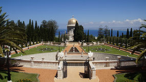 Bahai Gardens. Cascading in Israel with sea view Stock Photography