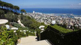 Bahai Gardens. Cascading in Israel with sea view Royalty Free Stock Photo