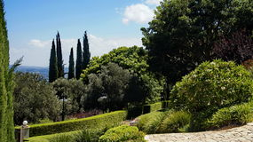 Bahai Gardens. Cascading in Israel with sea view Stock Image