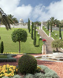 Bahai gardens and graceful fountain Royalty Free Stock Photo