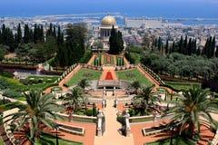 Bahai gardens, Israel. View of Bahai gardens and the Shrine of the Bab on mount Carmel, Haifa, Israel Royalty Free Stock Image