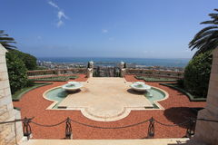 Bahai Gardens & Mediterranean Sea, Haifa Royalty Free Stock Images