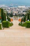 Bahai gardens with sea royalty free stock photos
