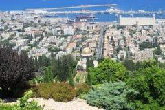 Bahai Gardens and sea port in Haifa, Israel. Stock Photos