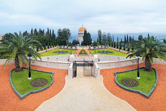 Bahai Gardens with Shrine of the Bab in Haifa, Israel Stock Photo