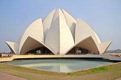 Bahai Lotus temple in Delhi. JANUARY 24,2014, NEW DELHI, INDIA - Bahai Lotus temple in India. This temple built in 1986 and is one of a main sights of Delhi stock image