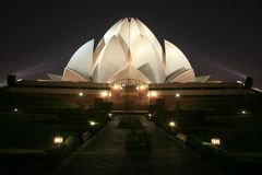 Bahai lotus temple at night in delhi Stock Photography