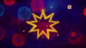 Bahai Nine pointed star Bahaism Icon Symbol on Colorful Fireworks Particles. Object, Shape, Design, Text, Element, 4K Loop Animation stock video footage