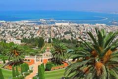 Bahai ogródy i pejzaż miejski Haifa, Izrael Zdjęcie Royalty Free