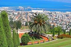 Bahai ogródy i pejzaż miejski Haifa, Izrael Fotografia Royalty Free