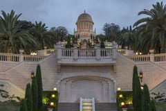 Bahai shrine in Bahai gardens at night royalty free stock images