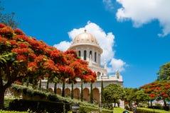 Bahai tempel i den Bahai trädgården, Carmel berg Fotografering för Bildbyråer