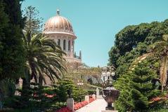 Bahai tempel i den Bahai trädgården, Carmel berg Arkivfoto
