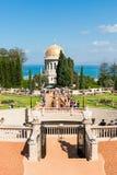 Bahai tempel och trädgårdar i Haifa, Israel Arkivfoto