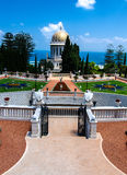 Bahai tempeljordning, Haifa, Israel Royaltyfria Foton