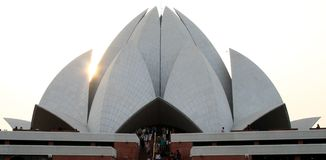 Bahai Temple. Lotus like structured Bahai Temple in Delhi stock photo